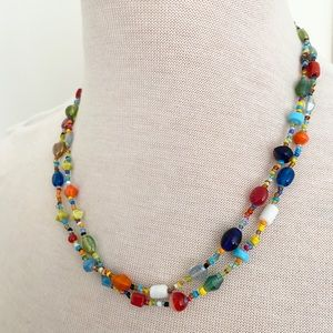 Stained glass, beaded necklace